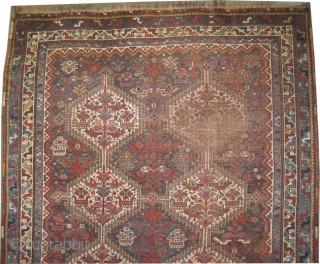 "Shiraz Khamse Persian, circa 1905, antique. Collector's item, Size: 189 x 157 (cm) 6' 2"" x 5' 2""  carpet ID: K-4109 