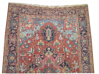"""Serapi Heriz Persian knotted circa in 1905 antique, collectors item, 360 x 225 (cm) 11' 10"""" x 7' 5""""  carpet ID: P-4380 The black color is oxidized, the knots are hand spun  ..."""