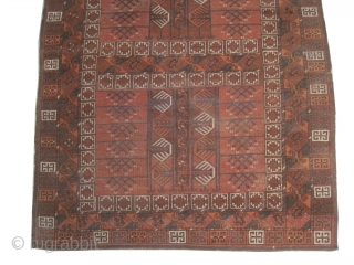 """Engsi Afghan, knotted circa in 1890, antique,  184 x 145 (cm) 6'  x 4' 9""""  carpet ID: HGW-3 The knots, the warp and the weft threads are mixed with wool  ..."""