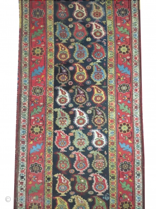 """Saliani Caucasian, knotted circa in 1880,  antique, collector's item, 497 x 92 (cm) 16' 4"""" x 3'  carpet ID: RHU-2 The knots and the weft threads are hand spun lamb wool,  ..."""