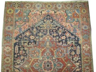 "Serapi Heriz Persian circa 1890 antique. Collector's item, Size: 294 x 196 (cm) 9' 8"" x 6' 5""  carpet ID: P-5349  High pile, vegetable dyes, the knots are hand spun lamb  ..."