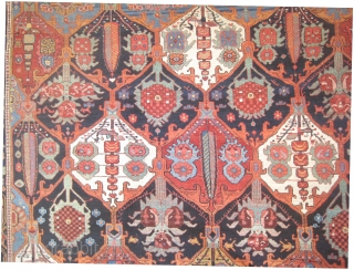 "Baktiar Persian circa 1895 antique.  Size: 392 x 313 (cm) 12' 10"" x 10' 3""  carpet ID: P-6111  vegetable dyes, the black wool is oxidized, the knots are hand spun  ..."