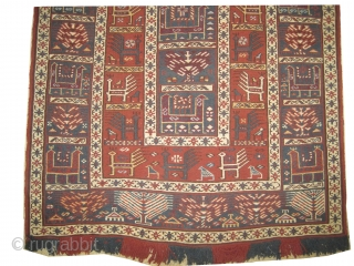 "Zille with soumak technique Caucasian, circa 1918, antique, collector's item, Size: 175 x 116 (cm) 5' 9"" x 3' 10""   carpet ID: A-921