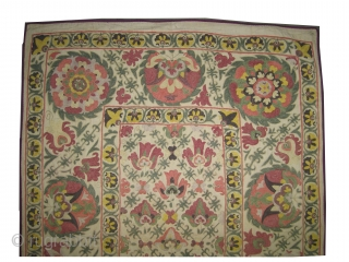 """Suzani Uzbek circa 1880 antique. Collector's item. ize: 94 x 145 (cm) 3' 1"""" x 4' 9""""   carpet ID: A-944 Vegetable dyes, embroidered with silk on hand woven cotton stuff, the background  ..."""