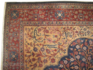 """Mohtashem Kashan Persian circa 1910 antique, collector's item, Size: 298 x 235 (cm) 9' 9"""" x 7' 8""""  carpet ID: MBW-1 vegetable dyes, the knots are hand spun lamb silky wool, the  ..."""