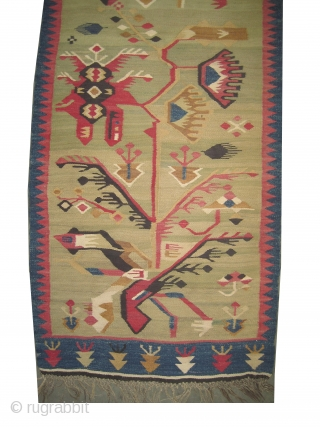 """Art Deco Bessarabian kilim woven circa in 1920 antique, collector's item.  318 x 78 (cm) 10' 5"""" x 2' 7""""  carpet ID: A-584 Woven with hand spun wool, the background is  ..."""