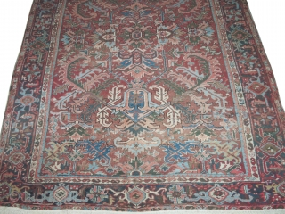 Heriz Persian, knotted circa in 1935 semi antique, 238 x 314cm, carpet ID: MAM-10 Decorative carpet, the black knots are oxidized, in good condition.