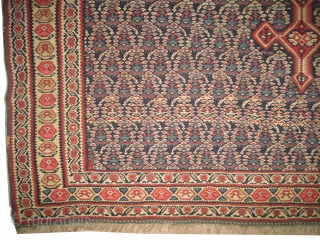 """Senneh kelim Persian, circa 1880 antique. Collector's item, Size: 198 x 152 (cm) 6' 6"""" x 5'  carpet ID: A-316 vegetable dyes, hand spun 100% wool. The weft threads are wool,  ..."""