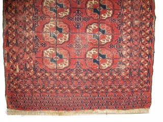 Tekke Boukhara Turkmen knotted circa in 1880 antique, collectors item, 89 x 107cm, carpet ID: MAM-13 The knots, the warp and the weft threads are hand spun lamb wool. The black knots are  ...