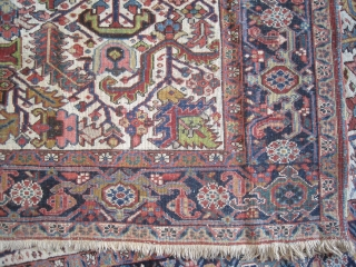 """Bakshaish Heriz Persian knotted circa in 1920 antique, collector's item, 346 x 240 (cm) 11' 4"""" x 7' 10""""  carpet ID: P-2740 The black knots are oxidized, the knots are hand spun  ..."""