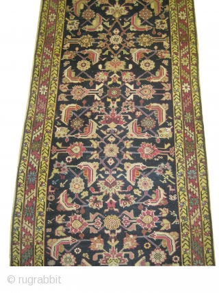 Karabag Caucasian knotted circa in 1895 antique. 580 x 91 (cm) 19'  x 3'  carpet ID: K-3468 in good condition except the oxidized places are shorter than the rest pile. In  ...
