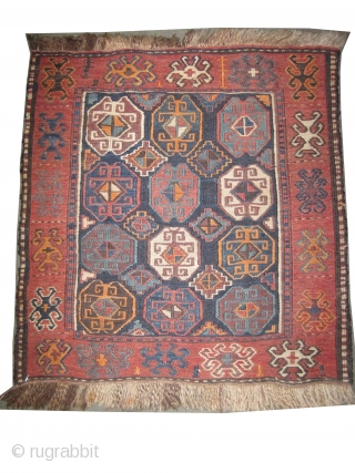Soumak Gendja Caucasian circa 1910 antique. Collector's item, CarpetID: A-1078 A pair of soumak bag faces. 100% wool, all over geometric design, perfect condition, the background color is indigo, the surrounded large border  ...
