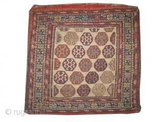 """Soumak bag Caucasian circa 1885 antique. It's a pair.  Size: 52 x 50 (cm) 1' 8"""" x 1' 8""""  carpet ID: A-872 Woven with hand spun 100% wool Soumak technique, the  ..."""