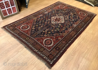 Rug# 8467J, Late 19th C Qashqai in immaculate condition. no holes or bald areas. Pile is low but not threadebare. 