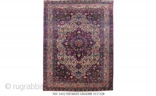 Rug no: 1432, Antique Isfehan, 100% vegetable dyes, circa 1900, restored and cleaned, beautiful colours, unique piece, collectable, size: 315x228 cm