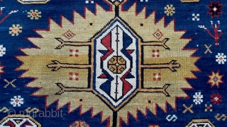 """Bold and beautiful Karagashli rug from the Kuba villages in good condition with 3 bold serrated medallions, unusual """"s"""" border, minor end losses, as found with no repairs, late 19c. Approximately 4x6  ..."""