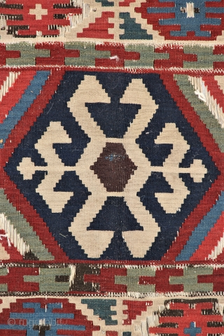 AVAILABLE. Very old and distinguished kilim which many specialists concur is an outstanding and early authentic Shahsevan weaving. Lovely natural dyes, parchment thin tight weave, fine wool, cotton warps, dry sandpaper texture,  ...