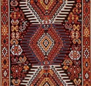 East Anatolia, Erzurum region, Kurdish people, wool kilim, mixed wool braided warps, single loom width, 4.2 x 10.2 feet (127 x 310) cm. 19th century. Impressive quality in excellent condition with organic  ...