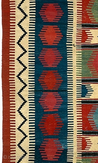 Beautiful and unusual Borchalu kilim, end 19c, approx 6 x 8 feet (183 x 244 cm)Pure saturated natural colors and striking graphic quality. There are no outlines around the motifs which intensifies  ...