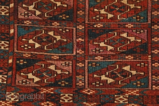 Fine Tekke mafrash with ayna gols and insect dyed silk highlights. First half 19c. Thick full pile, condition as shown. Exquisite and early collectible example even with losses. Easily backed with dark  ...