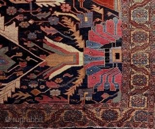 Heriz region wagireh of unusual large size, 7.7 X 8.9 feet. Circa 1900. Slight wear, min one end stripe reknotted. Stunning art piece.
