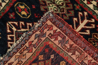 Choice SW Persian Lur khorjin face with unique checkerboard medallion. Last quarter 19c. Excellent original condition with finely woven, velvety wool and glowing natural colors, with a portion of the original kilim  ...