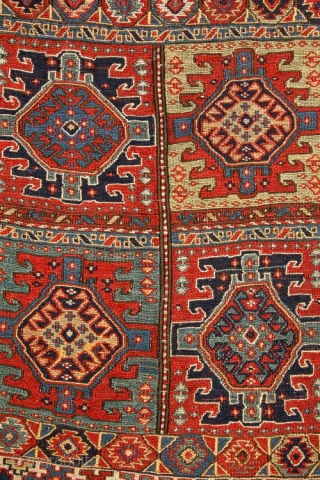 Fine Shahsevan sumak khorjin face, 19c, in very good condition; edges protectively wrapped. Velcro for wall display included. Exhibited at ICOC and published in Oriental Rugs from Atlantic Collections, p 101, ICOC,  ...