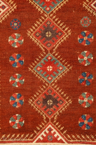 Classic early 19c Anatolian Milas prayer rug with amazing wool, refined drawing and harmonious palette including a luscious aubergine. 44 x 64 inches (112 x 163 cm). No restoration, sides wrapped, insect  ...