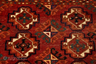 Middle Amu Darya,large Chuval, mid-19c. Probably Ersari or Kizil Ayak, with bold drawing and well-spaced layout and border. Wide and deep proportions often indicate an earlier period. Exceptional wool quality, saturated dyes,  ...