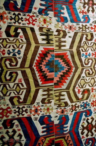 Strong graphics in this Hotamish Central Anatolian kilim from the mid-19c. Good quality and excellent condition with 2-3 very small weft breaks. No repairs. All natural dyes. Dramatic collector piece, approx 5.5  ...