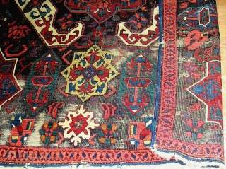 A dramatic mid-19c Zeichur rug from the Caucasus Kuba region displays familiar bold motifs found in 18c embroidered textiles and large workshop carpets. Generous in size and scale with saturated natural dyes.  ...