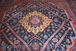 "Exceptionally Beautiful and Fine 1930 Palace size Garrus Bidjar 14'4"" x 25' 2"", in thick pile with a very tight weave and spectacular colors! Amazing red, yellow, greens, blues, salmon and burnt  ..."