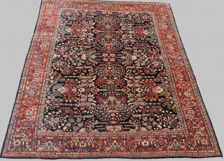 "Superb condition and serenely Beautiful 1900 Persian Fereghan Sarouk 10'3"" x 13', in absolutely perfect condition with full pile everywhere, the original sides and flat-woven kelim at the bottom end! Unparalleled natural  ..."