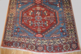 "1840 or earlier Konya-Ladik Long Rug, 3'10"" x 16'3"". Spacious and delicately drawn design with wonderful old colors, purple-aubergine, yellow, green, three reds including a spectacular cherry red and a stunning light  ..."