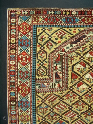 GREAT RARE YELLOW FIELD ANTIQUE CAUCASIAN MARASALI SHIRVAN PRAYER RUG  Classic textbook design with 100% natural dyes. It possesses evenly low allover pile condition to the tops of the knots. Minor repairs to  ...