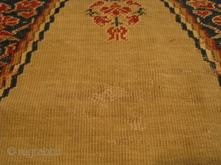 """A mid-19th Century Ghiordes Prayer Rug, 5'5"""" x 4'0"""".  Great color with traditional pattern.  Reselvedged, flat-stitch repairs, and normal wear associated with rugs from this period."""