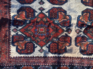 White Ground Afshar constructed of interlocking boteh! Wool warp and weft, 4 feet by 5 feet. Low pile, good general condition. Selvages are in great shape!