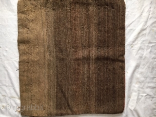 "Kurd bagface: 26"" X 24"". Single wefted, 6 ply cotton warp and goat hair weft. The back is not original to the piece. Closure tabs still attached as shown in detail photo.  ..."