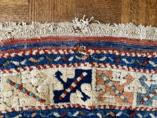 "Turkish Dobag-type rug with some age. Beautiful dyes as you can see. A small hole about 1.5"". Size: 64"" X 56"". This is a hard to find piece nowadays! $450 plus shipping.  ..."
