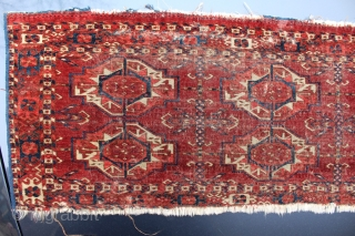 "This Tekke six gul torba is beautifully drawn and very old, easily c. 1850. It measures 42"" X 15"" and has 13 kpi horizontal and 22 vertical, 286 kpi. It has considerable  ..."