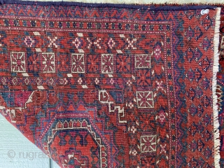 Sold! Lovely Tekke chuval with brilliant dyes and design. Circa 1900 or earlier. Great piece. Tiny amount of dye transfer onto warp as seen in last photo. Could still be natural dye,  ...