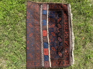 "Sold! Antique Baluchi bag face in full pile. Iridescent indigo and deep madder. 32"" x 28"" $200"