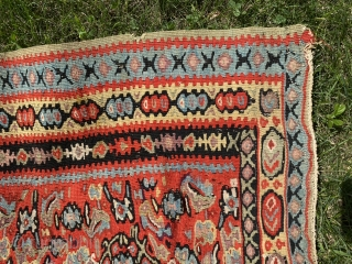 """SOLD!Senneh kilim. 53"""" x 76.""""  Very nice color and condition. The color is somewhat stronger on one side than the other. I got this from Ron Hort back in the day.  ..."""