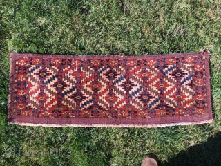 """Sweet Torba, with Asmalyk guls, 45"""" X 15"""" - Symmetric knots. Saturated dyes, with mothing [taken care of], and wear. Super decorative. Some red dye issues with the weft, but clean on  ..."""
