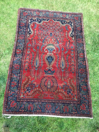 "Kashan: 6'6"" X 4'4"" - 18kpi X 16kpi. Worn to the knothead in some places, some edge wear as shown. Santa would be happy to give you a great Persian rug for  ..."