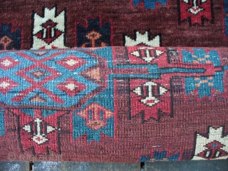 """Antique Yomud Main Carpet: Excellent Christmas gift. 9'3""""X5'5"""". 11H X 14V = 140 kpi. Camel hair warp. Some cotton in weft? [see pic]. SOLD!"""