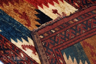 Ersari (or Uzbek?) torba with very unusual design. I know of only one other piece with a similar design and colors (but with a star border) sold at Rippon-Boswell in 2010 as  ...