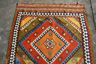 Qashqai kilim with strong graphics and excellent saturated colors. Size 148 x 270 cm/ 59 x 108 inches. Generally in very good condition, only one tiny hole in a kilim end, a  ...