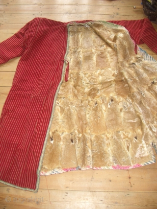 Extremely rare turkoman chapan, fully lined with fur including the sleeves, ikat lining at the edges,