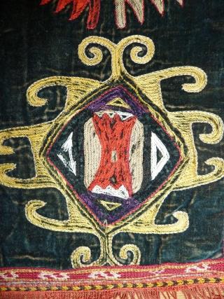 Lovely lakai boktche, fine silk embroidery on black velvet, 52 cm/ 20 inch square